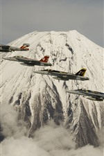 Preview iPhone wallpaper Fuji Mountain, volcano, fighters flight