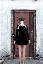 Preview iPhone wallpaper Girl back view, braids, black skirt, door, wall