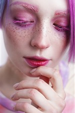 Preview iPhone wallpaper Girl, makeup, colorful hair, face