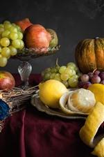 Preview iPhone wallpaper Grapes, pumpkin, lemon, apple, knife