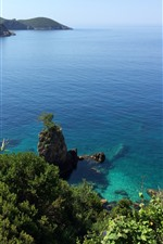 iPhone обои Греция, Корфу, море, камни, побережье