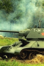 Green, tank, grass, trees