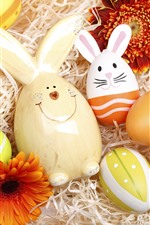 Preview iPhone wallpaper Happy Easter, colorful eggs, rabbit, flowers