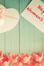 Preview iPhone wallpaper Happy Women's Day, tulips, love heart gift