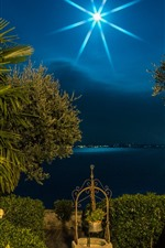 Preview iPhone wallpaper Italy, Lombardy, palm trees, moon, night, lake, light rays