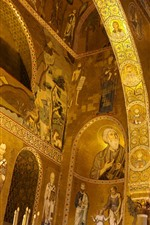 预览iPhone壁纸 意大利,西西里岛,诺曼底宫殿,教堂,壁画