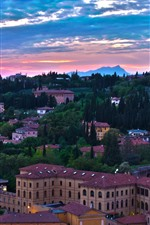 Preview iPhone wallpaper Italy, Verona, city, houses, trees, clouds, evening