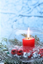 Preview iPhone wallpaper Merry Christmas, star, candle, flame, snow, glass jar