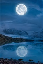 Preview iPhone wallpaper Moon, lake, snow, mountains, winter, night