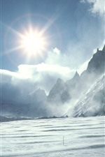 Preview iPhone wallpaper Mountains, snow, sun rays, glare, river, winter