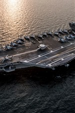 Preview iPhone wallpaper Navy, ship, aircraft carrier, sea