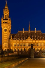 Preview iPhone wallpaper Netherlands, Peace Palace, night, lights