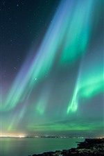 Preview iPhone wallpaper Northern lights, beautiful night, sky, stars, sea, Iceland