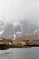 Preview iPhone wallpaper Norway, Lofoten, winter, sea, snow, mountains, houses