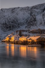 Preview iPhone wallpaper Norway, The Lofoten Islands, houses, snow, sea, mountain, dusk, winter