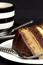 Preview iPhone wallpaper One slice chocolate cake, cup