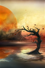 Preview iPhone wallpaper Planet, lake, tree, sun, creative picture