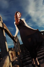 Preview iPhone wallpaper Red hair girl, black skirt, stairs