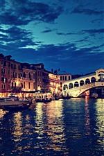 iPhone обои Мост Риальто, Венеция, Италия, Ночь, река, мост, огни