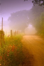 Preview iPhone wallpaper Road, countryside, house, fog, morning, trees, fence