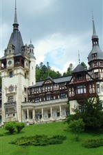 Preview iPhone wallpaper Romania, Peles Castle, green, trees