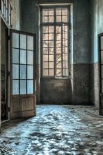 iPhone обои Комната, стена, дверь, окно, салон, руины