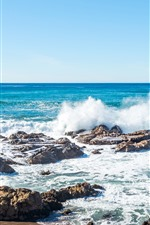 Preview iPhone wallpaper Sea, coast, water splash, foam, stones