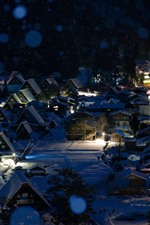 Preview iPhone wallpaper Shirakawa-go, Japan, winter, snow, night, houses, lights