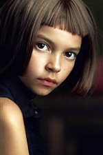 Preview iPhone wallpaper Short hair girl, brown eyes, look, child