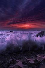预览iPhone壁纸 西班牙,安大路西亚,海浪,飞溅的水,石头,日落