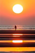 Vorschau des iPhone Hintergrundbilder Sonnenuntergang, Fischer, Abenddämmerung, Küste, Meer, Silhouette