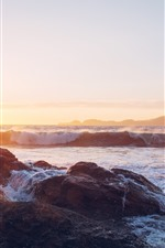 Preview iPhone wallpaper Sunset, sea, stones, water splash, foam