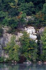 Preview iPhone wallpaper Trees, lake, rocks
