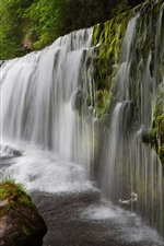 Preview iPhone wallpaper UK, waterfall, water, stones, trees, moss