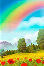 Preview iPhone wallpaper Vector design, rainbow, trees, poppy flowers
