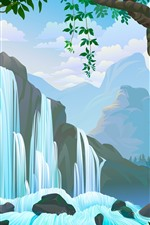 Preview iPhone wallpaper Waterfall, trees, mountains, vector picture