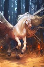 Cavalo Branco, Asas, Floresta, Fantasia, Imagem de Arte