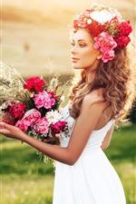 Saia branca menina, flores, buquê, grama, verão