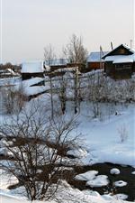 Inverno, neve, árvores, casas, aldeia, rio