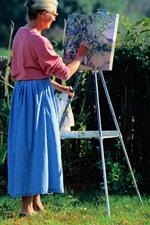 Mulher, desenho, cão, cerca, flores