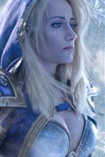 iPhone обои World of Warcraft, голубые глаза девушка, блондинка, снег
