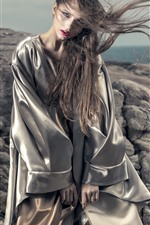 Preview iPhone wallpaper Young girl, style, long hair, wind, stones, sea