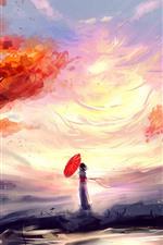 Menina de anime, guarda-chuva, cachoeira, folhas vermelhas, outono