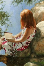 Preview iPhone wallpaper Art painting, girl, book, stones, creek, water