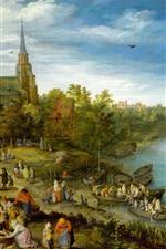 iPhone обои Художественная живопись, деревня, река, люди, деревья, лодки