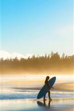 Praia, mar, ondas, espuma, árvores, menina, surf