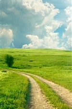 Preview iPhone wallpaper Beautiful green fields, path, white clouds, sunshine, summer