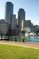 Preview iPhone wallpaper Boston, Massachusetts, city, river, skyscrapers, USA