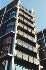 Preview iPhone wallpaper Buildings, facade, skyscrapers, balcony, city