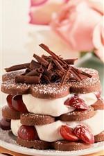 Bolo, creme, chocolate, rosa, sobremesa